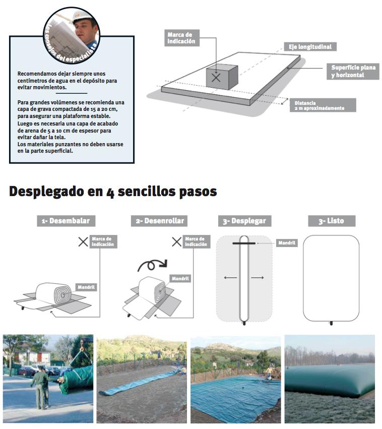 instalación de depósito flexible de lluvia