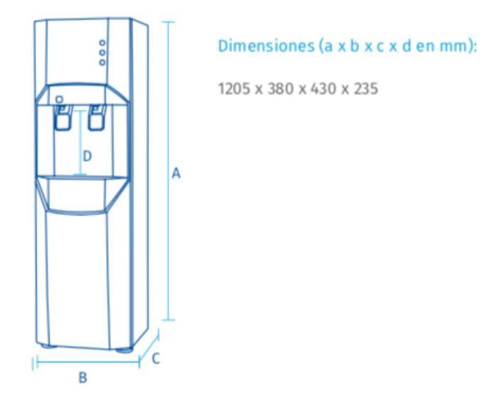 Fuente de agua FC-1300 ROP dimensiones