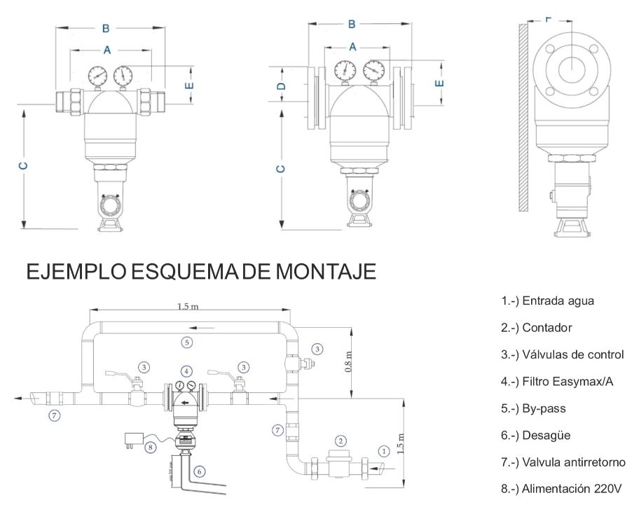 Filtro Autolimpiante EasyMax Plata montaje