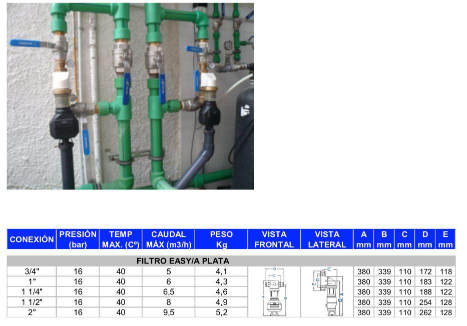 filtro autolimpiante EASY PLATA AUTOMÁTICO instalación