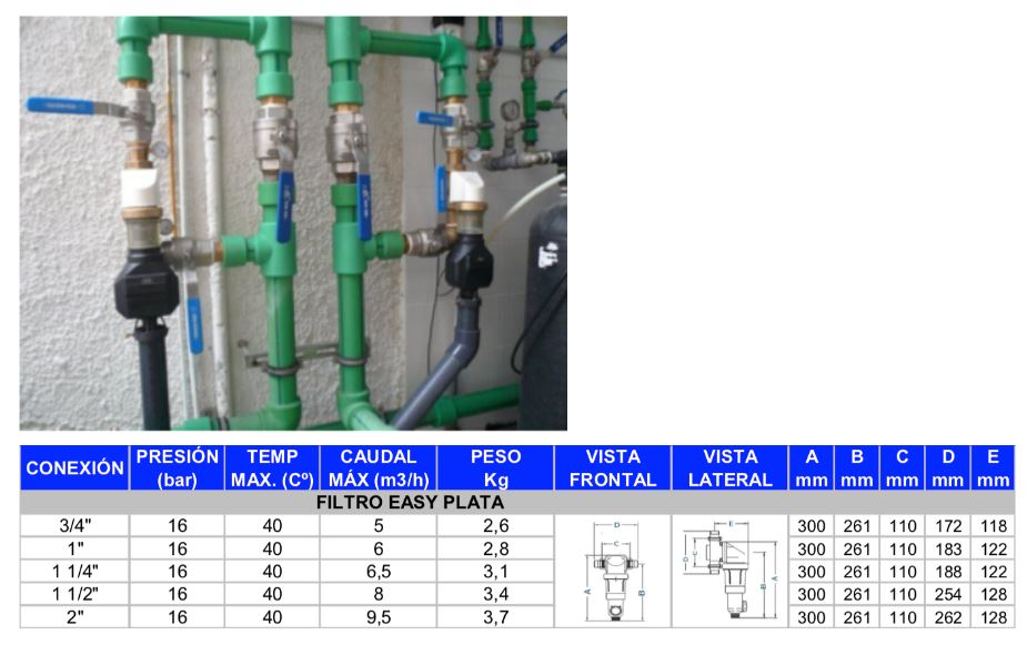 filtro autolimpiante easy plata semiautomatico caracteristicas