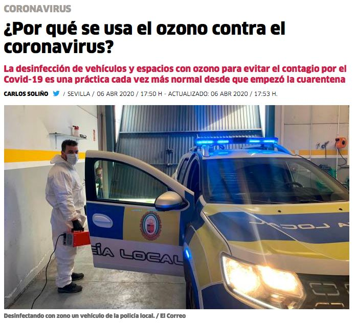 desinfectar coronavirus con ozono
