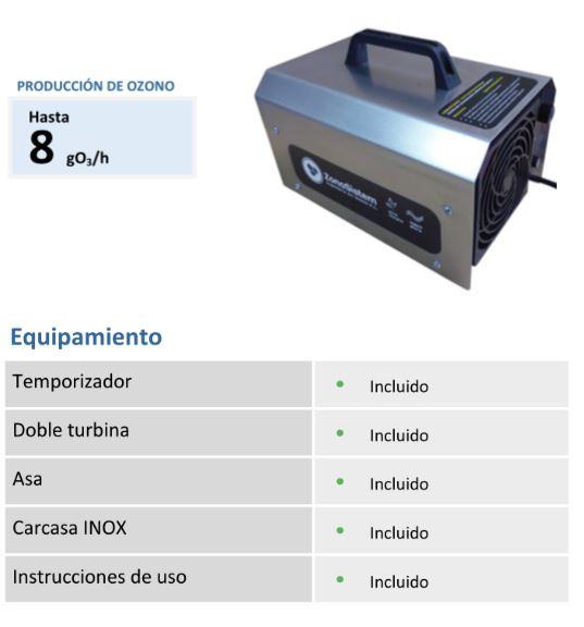 generador ozono desinfectante OZ-H80 cañón de ozono caracteristicas