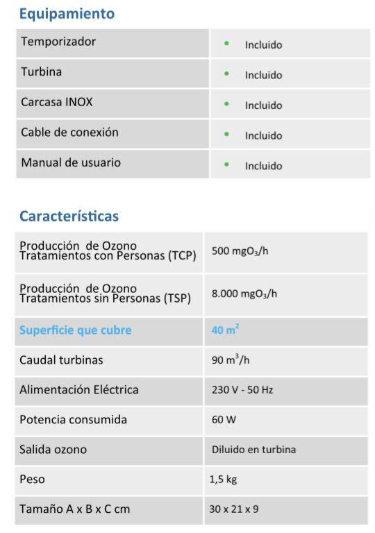 ozonizador generador ozono OZ-H50 caracteristicas