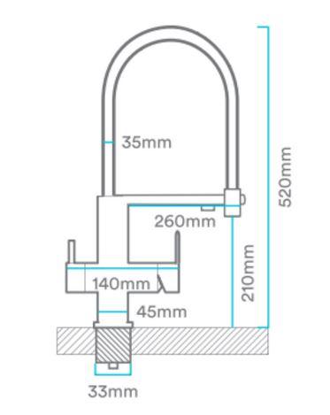 Grifo Flexible 3 vías ALTEA-medidas